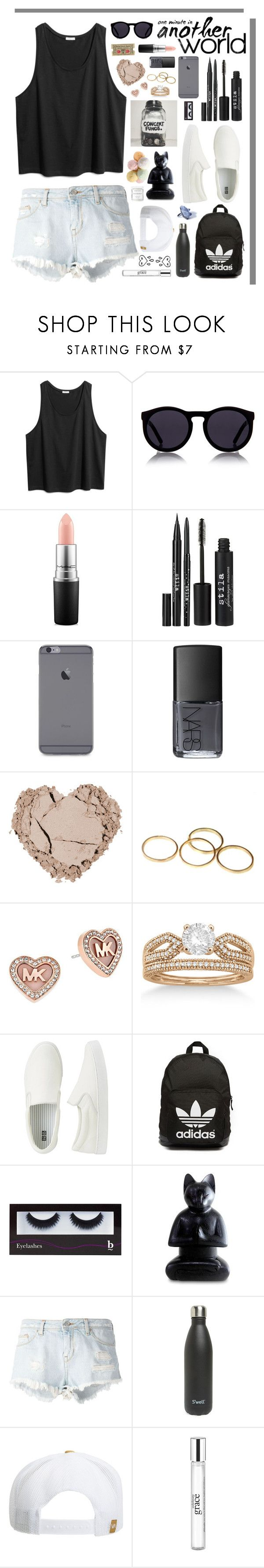 """ summer vibes "" by mrs-nick-robinson ❤ liked on Polyvore featuring Le Specs, MAC Cosmetics, Stila, NARS Cosmetics, MICHAEL Michael Kors, Allurez, Uniqlo, adidas Originals, BBrowBar and NOVICA"