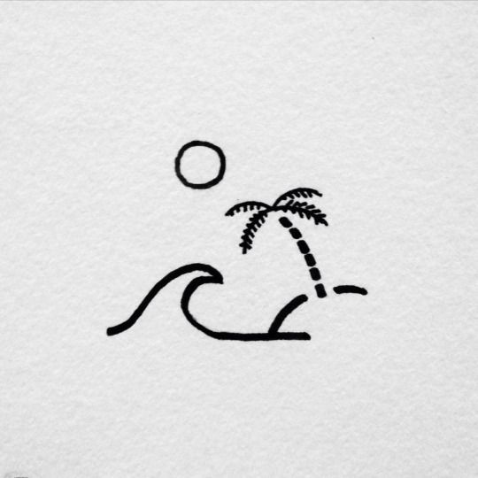 island | palm tree | sun | wave | ocean | sea | black and white | lines | drawing | design