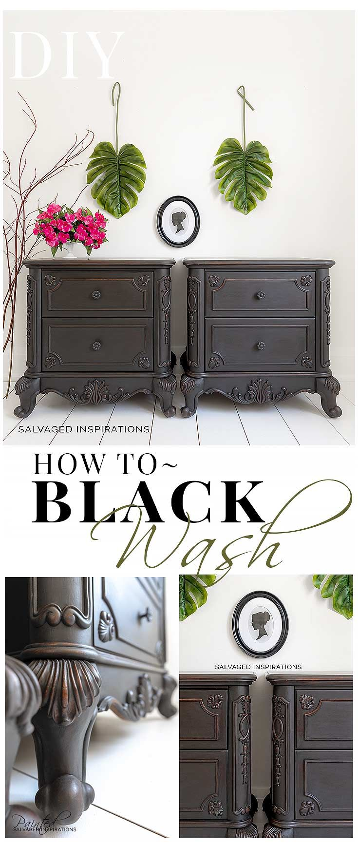 HOW TO CREATE AN EASY AND FAST BLACKWASH FINISH ON FURNITURE