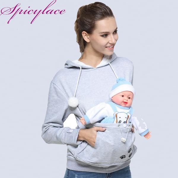 Women Cuddle Pouch Kangaroo Hooded Baby Or Pet Pouch Hoodie Free