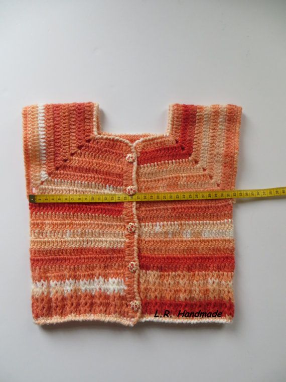 Crochet Girls Vest  Only 1 available  Size- 3 to 4 years (chest 52-55cm)  Vest Length is 34 cm  Material- soft Acrylic  The vest should be hand washed and laid flat to dry. If you have any questions, please contact me. Thank you for looking.