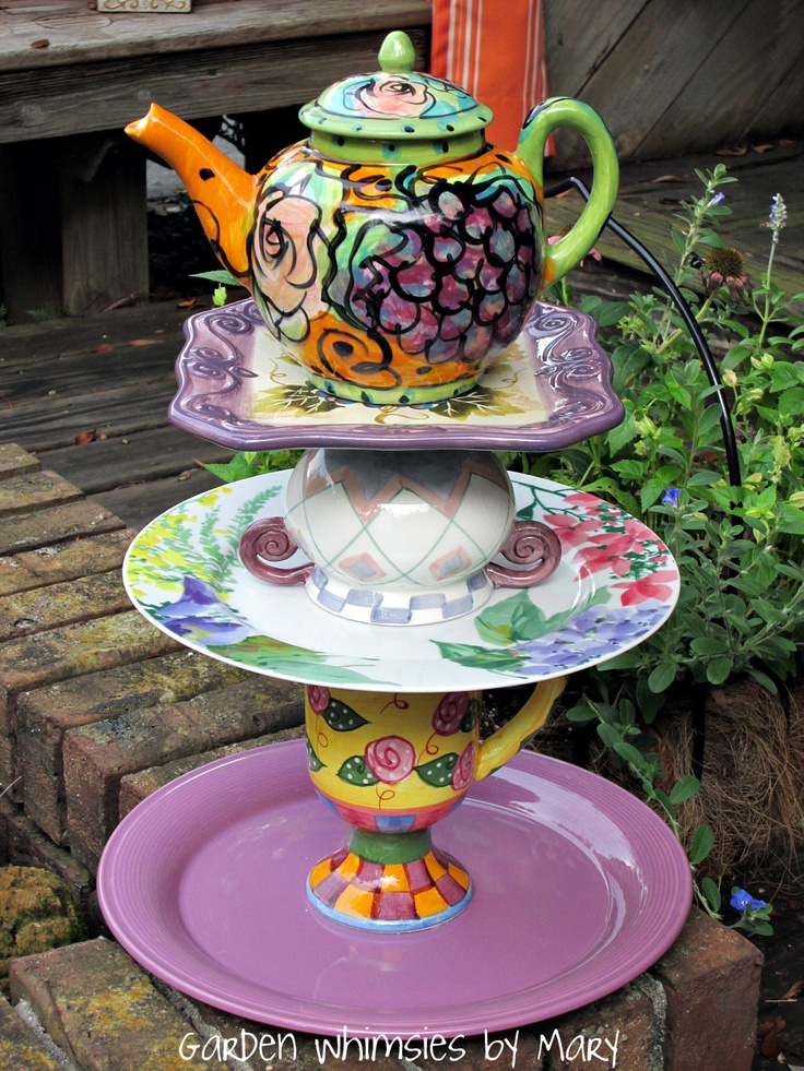 Teapot garden totem centerpiece by Garden Whimsies by Mary