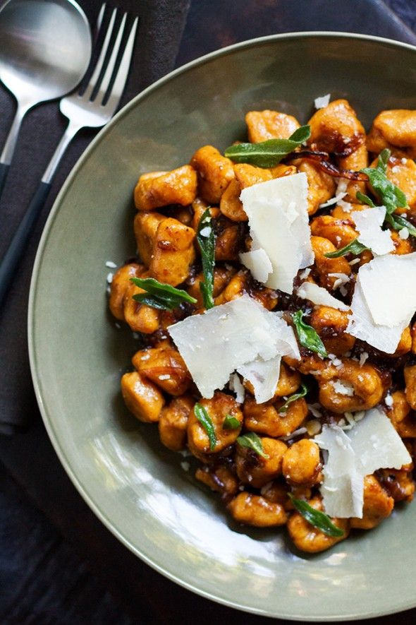 sweet potato gnocchi with balsamic-sage brown butter sauce food recipe