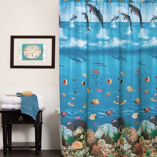 Colorful Underwater Ocean Paradise Water Resistant Fabric Shower Curtain