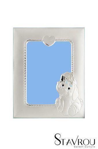 παιδική κορνίζα φωτογραφίας για αγοράκια ''ελεφαντάκια, καρδιά'' επάργυρη, με σιέλ σμάλτο / 2ΚΟ0491 logo #δώρα_για_το_παιδικό_δωμάτιο #παιδικές_κορνίζες #κορνίζες_φωτογραφίας
