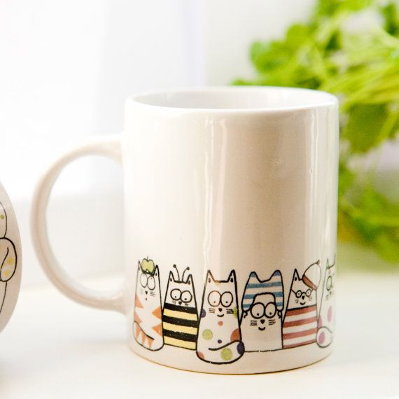 Cat coffee mug Moggy Mug Coffee Mug Tea cup by DianaParkhouse, £9.50