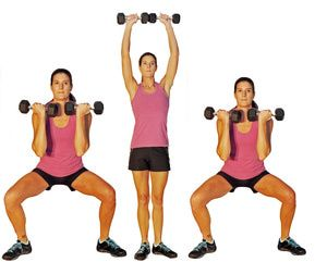 This is a Total Body Workout Progression from Beginner to Intermeidate Exercise: Side Step with an Arnold Press