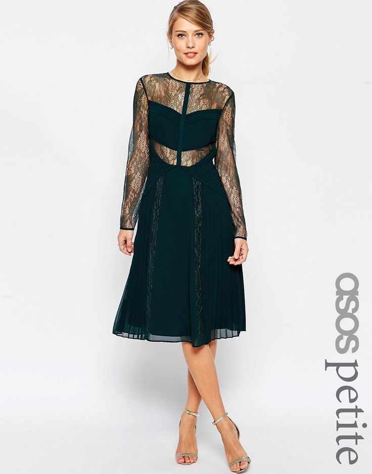 Get this Asos Petite's midi dress now! Click for more details. Worldwide shipping. ASOS PETITE Midi Lace Skater Dress with Cut Outs - Black: Midi dress by ASOS PETITE, Woven chiffon, Sheer lace detailing, Partially lined, Pleated design, Round neckline, Button keyhole back, Zip back closure, Regular fit - true to size, Machine wash, 100% Polyester, Our model wears a UK 8/EU 36/US 4. ASOS PETITE brings forth a trend-led collection specifically designed to fit women of 5�3/1.60m and under…