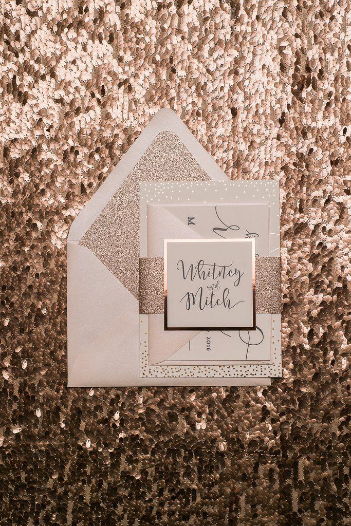 WHITNEY Suite Glitter Package, blush, rose gold, black, rose gold foil wedding invitations