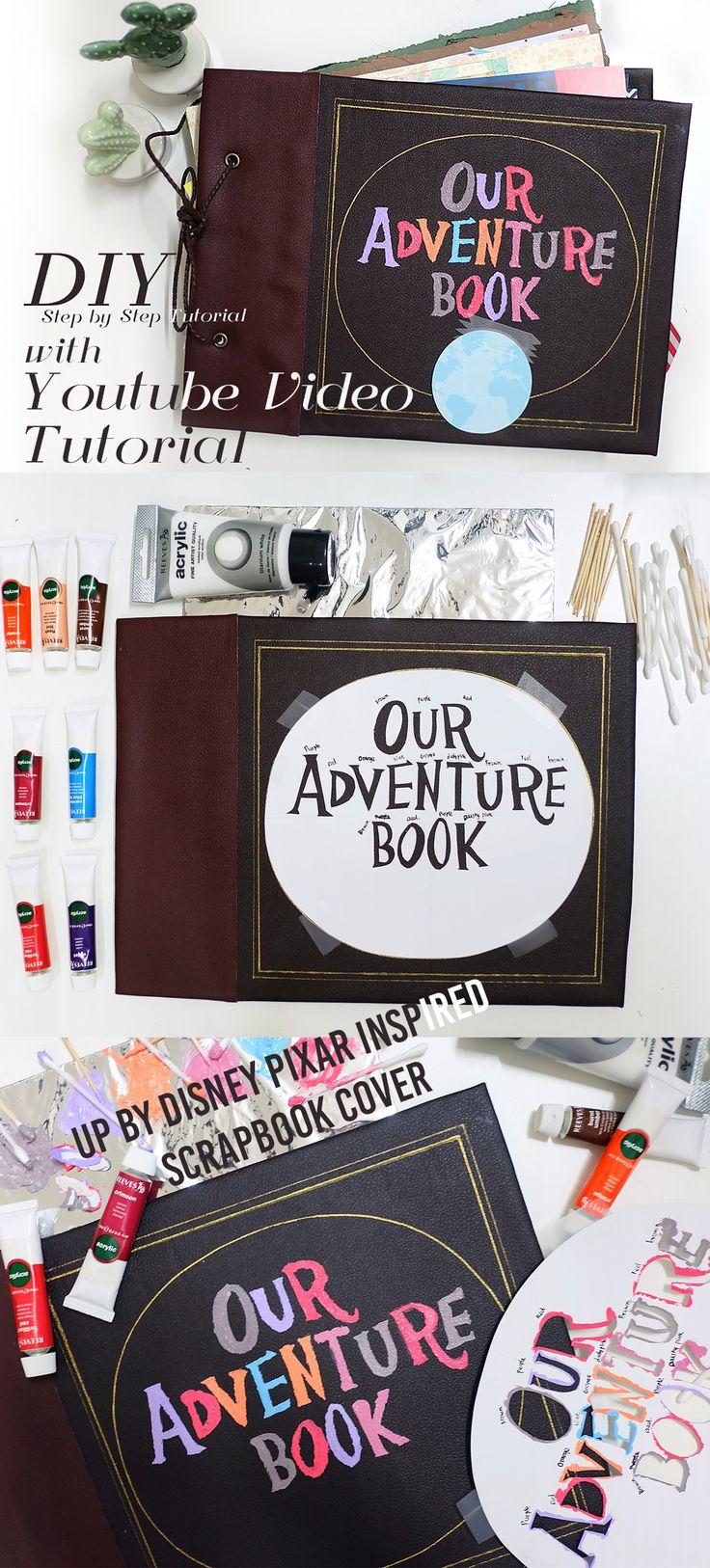 DIY up disney pixar scrapbook journal my adventure book tutorial with youtube video step  by step tutorial