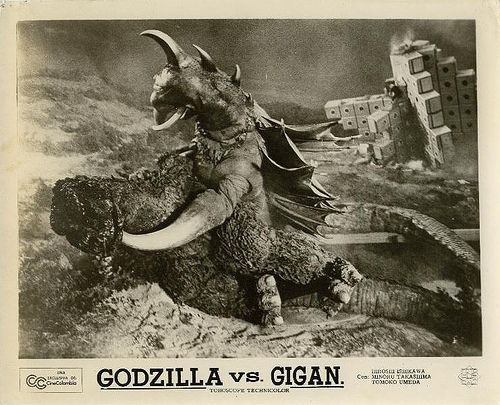 Godzilla versus Gigan: Smog Monsters, Coolest Monsters, Gigan Lobbies, B Movie Posters, Godzilla Monsters, Drawers Somewhere, Favorite Monsters Aliens Etc, Lobbies Cards, Lobby Cards