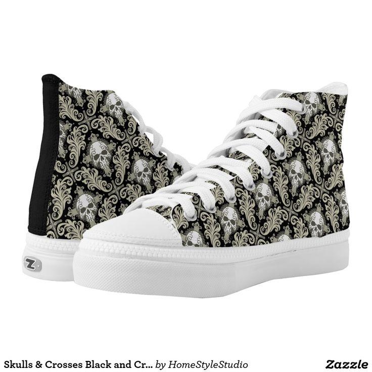 Skulls & Crosses Black and Cream Damask Pattern Printed Shoes