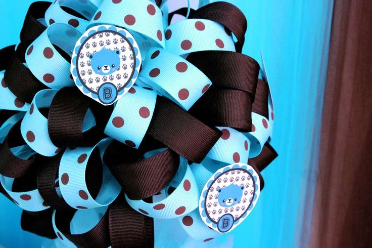 Brown & Blue Teddy Bear Theme Baby Shower Party Ideas | Photo 6 of 19 | Catch My Party