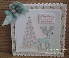 Made by Chloe using Stamps by Chloe, Starry Tree, Reindeer, Christmas most wonderful time, Holly Scroll