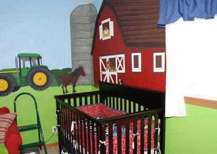 La habitación del bebé en estilo campestre.
