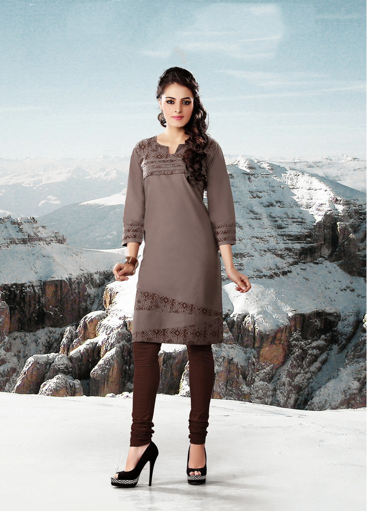 Grey color pure cotton Fabric Kurti. This Kurti is covered with Brown color Print at Neckline, sleeves & lower part which makes it beautiful.   Rate:-695/- For orders contact +919870725209 or Whtsapp