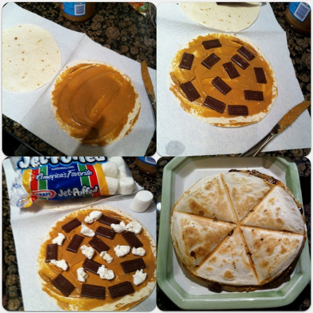 Dessert quesadilla!  1. Spread peanut butter on a tortilla. 2. Spread marshmallow and chocolate pieces. 3. Top it with another tortilla and pop it in the quesadilla maker until lightly brown. Could also be baked in the oven. Yum!!!