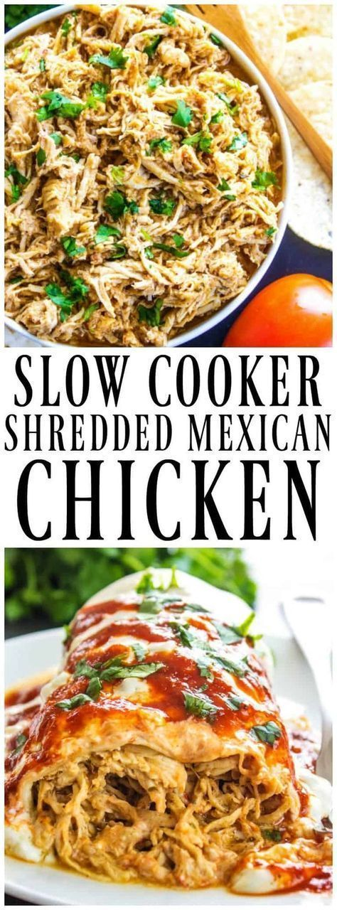 SLOW COOKER MEXICAN SHREDDED CHICKEN is simple, versatile and insanely delicious. Wrap it up, smother it in cheese and devour it. #SlowCooker #slowcookerrecipes #crockpot #crockpotrecipes #chickens #chickendinners #copycatrecipe #caferio