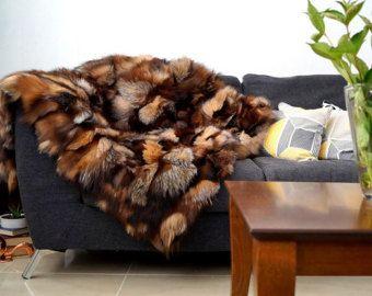 crystal fox real fur blanket