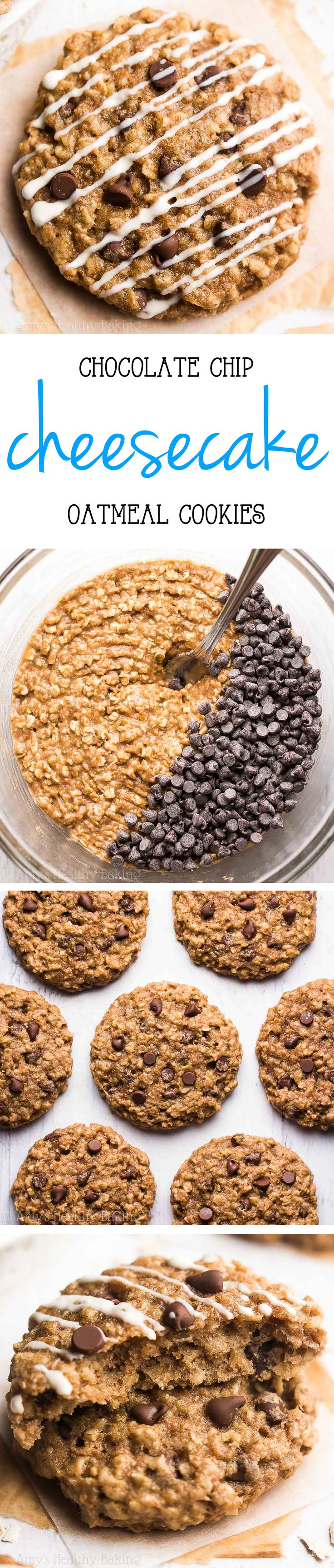 Skinny Chocolate Chip Cheesecake Oatmeal Cookies -- just 103 calories, but these cookies don't taste healthy at all! You'll never need another oatmeal cookie recipe again! (Chocolate Chip Cheesecake)