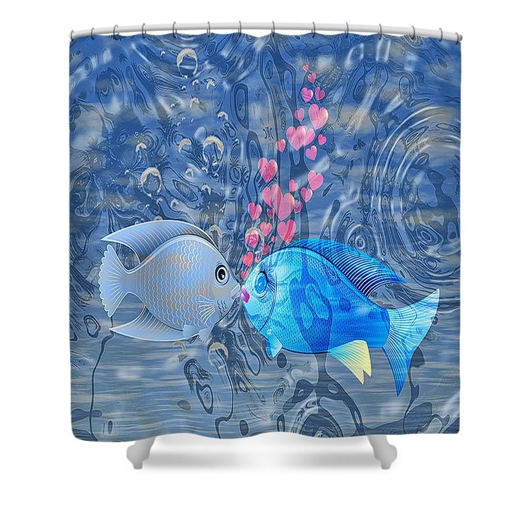 Adorable Shower Curtain featuring the digital art Fish In Love by Eleni Mac…