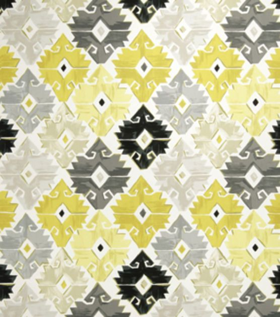 Home Decor Print Fabric Eaton Square Rogue Citron Grey Geometric, , Hi