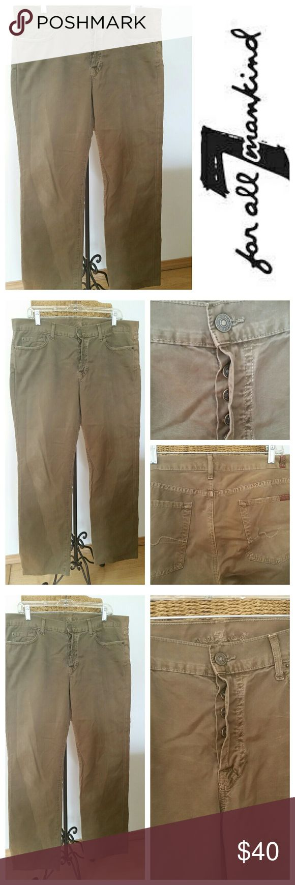 7 for all Mankind olive jeans 36 x 31 7 for all Mankind jeans Olive  The standard style  Button fly Very good condition 7 For All Mankind Jeans Straight