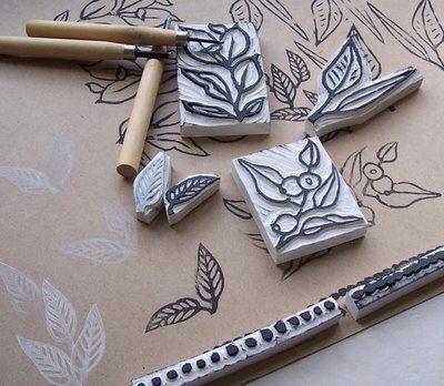 Sellos tallados a mano en goma de borrar - Hand Carved Eraser Stamps