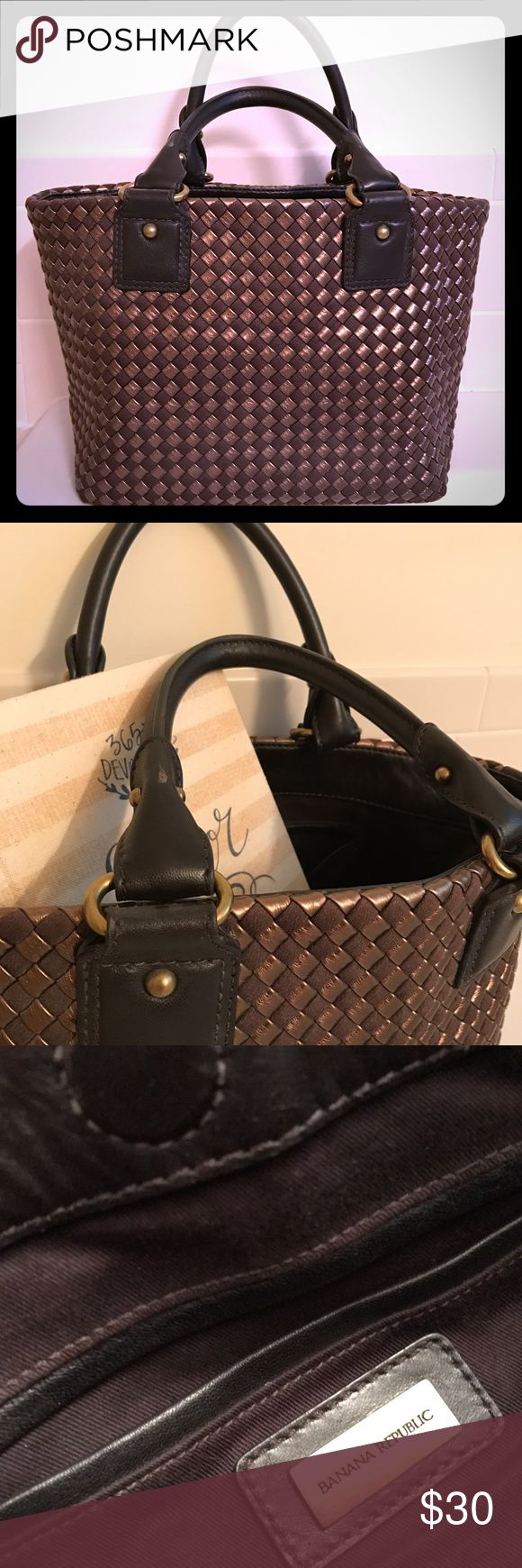 Banana Republic handbag Soft leather and woven handbag, dark brown. Perfect summer bag-- cotton lining, interior pocket, and magnet close... and big enough for a book or two! In great shape, even the leather base is in excellent condition. Banana Republic Bags