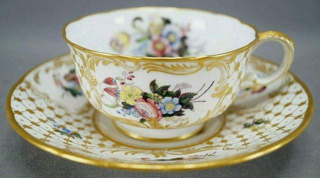 Minton Gold Trimmed Enameled Cup and Saucer Rare K212 INCREDIBLE