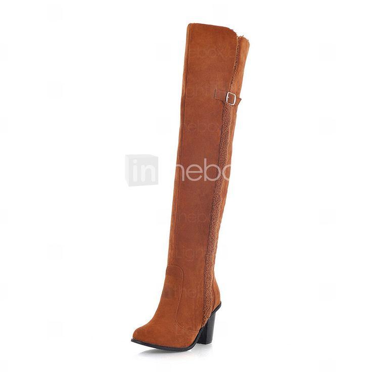 Chic Suede Chunky Heel over de knie laarzen met gesp feest / avond schoenen (meer kleuren) - EUR € 24.74