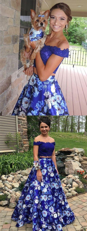 Two Piece Off The Shoulder Royal Blue Floral Prom Dress With Lace Floral Prom Dresses Piece Prom Dress Prom Dresses [ 1500 x 565 Pixel ]