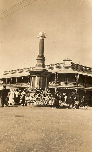 The Anzac monument in Bourbong Street ca1919 - before the soldier was installed.