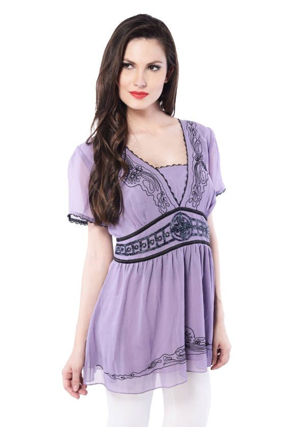 Shopo.in : Buy Purple Embroidred V-neck Top online at best price in New Delhi, India