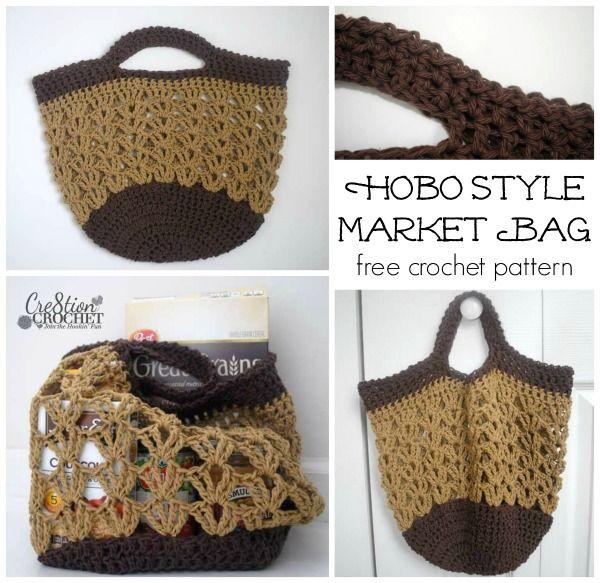 ~Hobo Style Market Bag~ FREE crochet pattern ~ #cre8tioncrochet ♡ Teresa Restegui http://www.pinterest.com/teretegui/ ♡