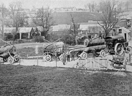 Steam wagon and sawn logs, Radstock area, c.1900s
