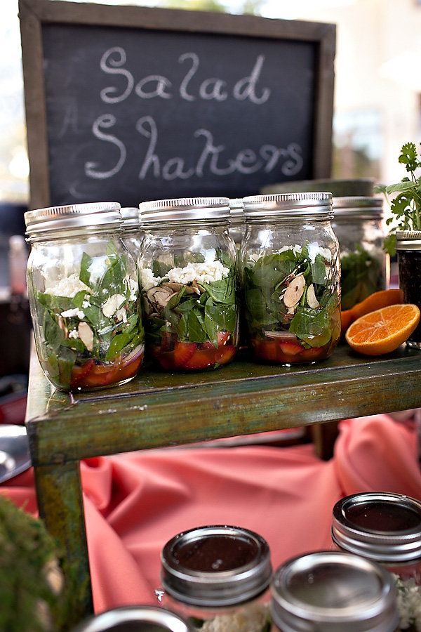 salad shakers, great for a picnic wedding