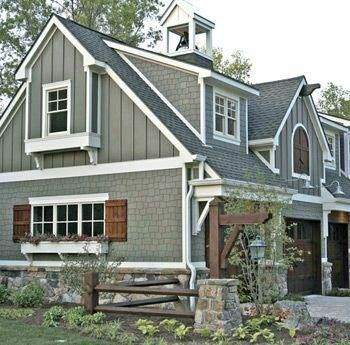 This Is The Color Scheme I Like Best.gray, Wood Shutters, Gray Shingles,  Vertical Siding, And Especially The Stone