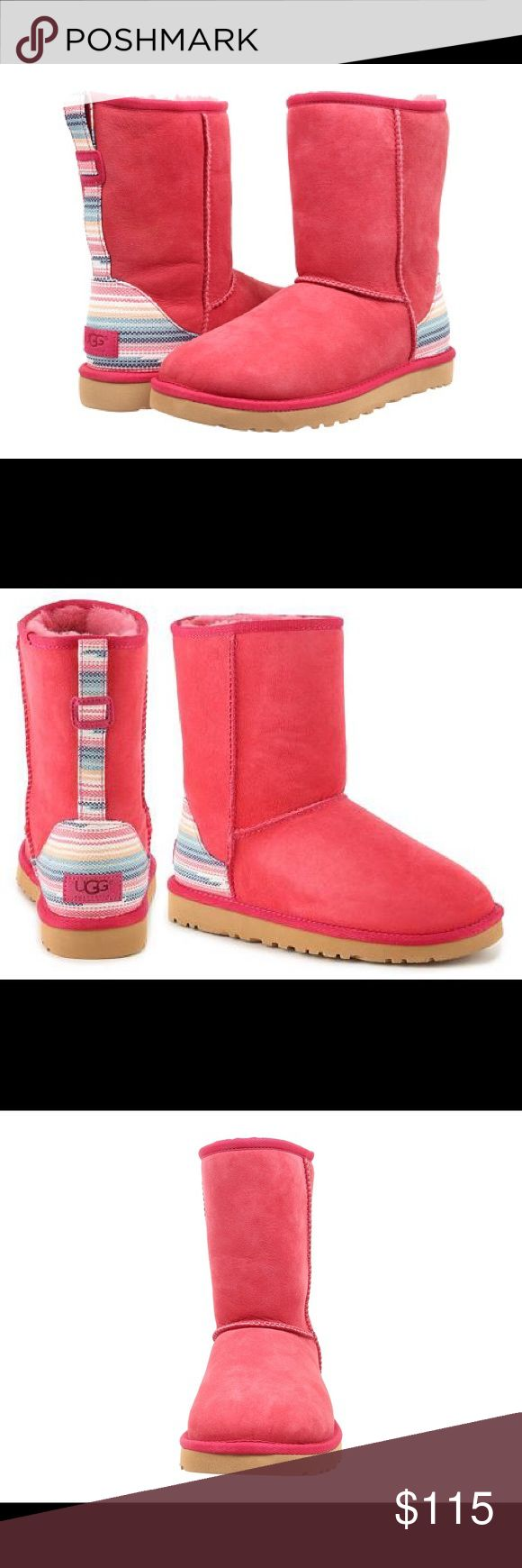 📦 UGG  Women Classic Short Serape 📦 Short. Size 6. Color is Sunset Red. stripes on heel continues up the back. UGG Shoes