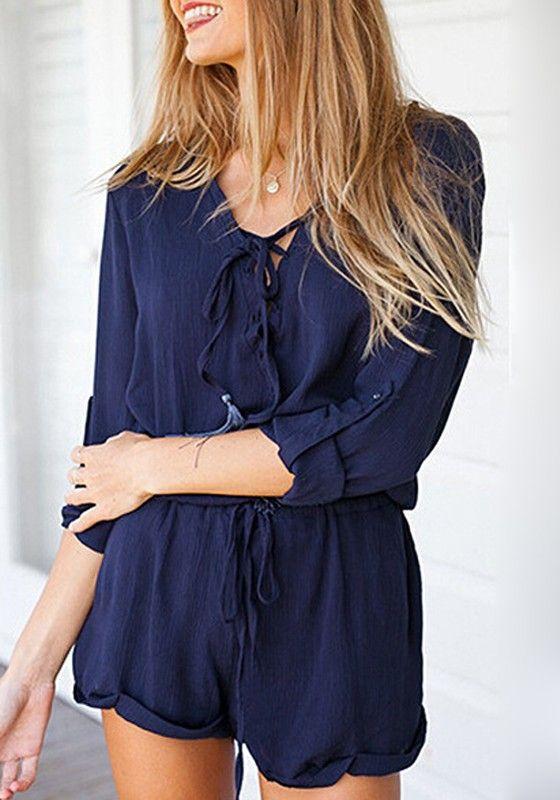 Blue Plain Drawstring Waist Long Sleeve Sexy Chiffon Short Jumpsuit