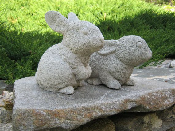 Charming Rabbit Pair, Cute Rabbits   Garden Decor