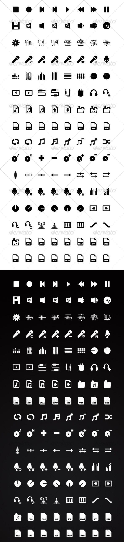 128 Audio / Music Application Icons: Black & White