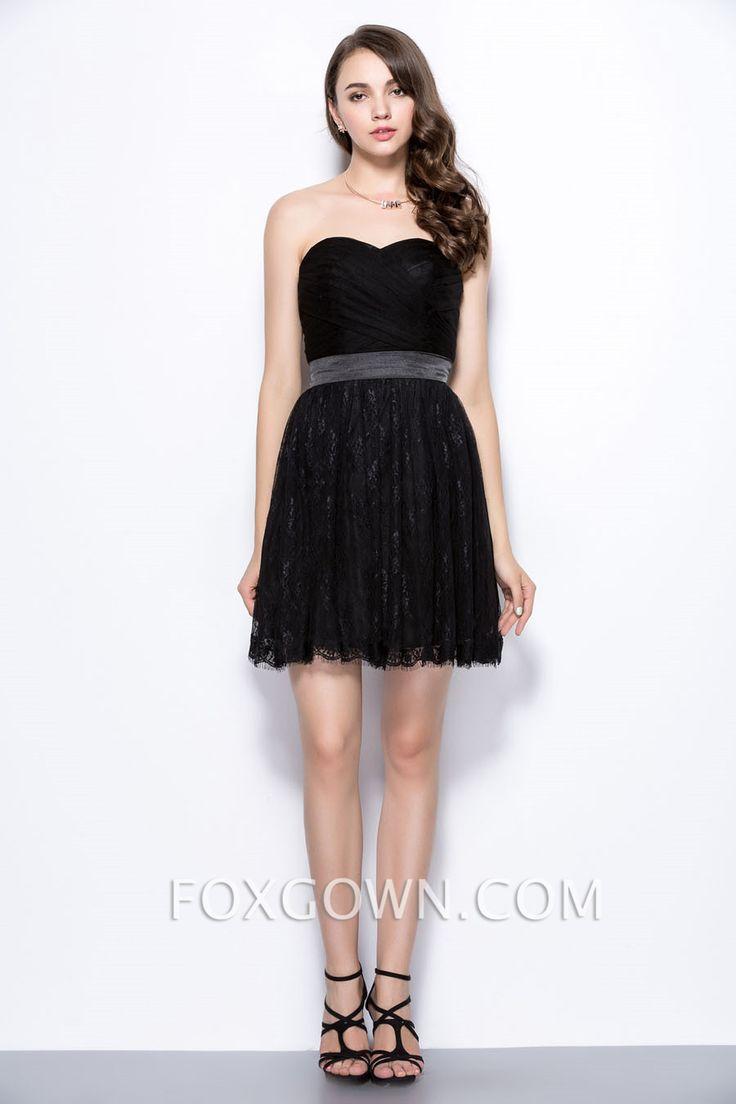 black strapless sweetheart short lace bridesmaid dress