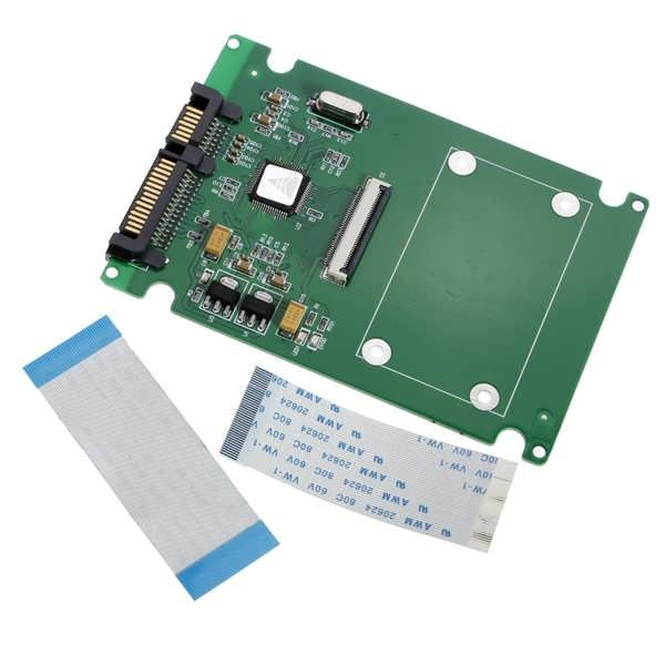 1.8 ZIF/LIF HDD Hard Disk Drive SSD to to 7+15 22 Pin SATA  Adapter   		Features: 		Convert ZIF/LIF HDD/SSD to SATA. 		The size is the same as a 2.5 SATA HDD. 		No external power required, easy to install. 		Compliant...