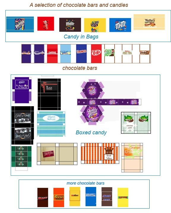 Free Dollhouse Printables ♥ Tiny Chocolate Bars & Candies ♥
