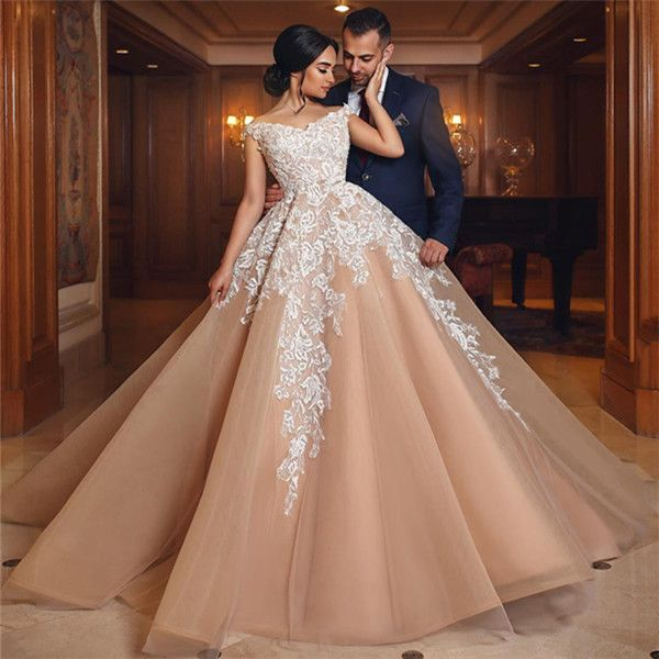 Gorgeous Champagne Appliques Wedding Dresses 2019 | A line from the shoulder wedding dresses from MychicDress