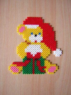 Christmas teddy hama perler beads by cathy077