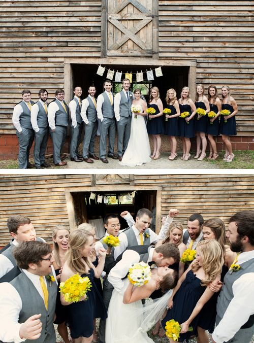 Quirky Yellow Barn Wedding - love the casual group shot