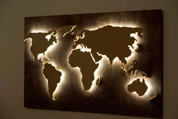 Wood World Map Wall Art Flat Earth Led World Map As Wall Decor