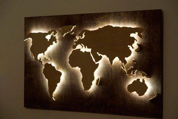 Wood World Map Wall Art Flat Earth Led World Map As Wall Decor